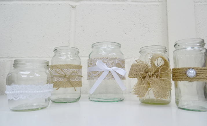 Collect your jam jars and decorate using ribbon, pearls, hessian etc.