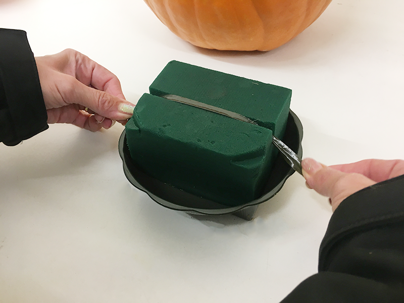 Once you have identified the container you would like to use, soak a block of floral foam and secure to the dish using anchor tape. Place in opening of the pumpkin.
