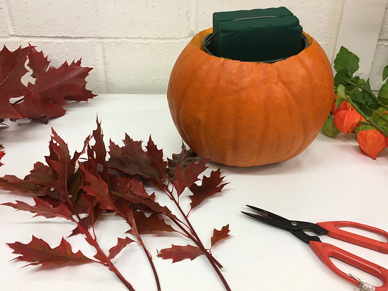 Begin to base the arrangement. Here we are using Oak Leaves Red - using scissors, cut the foliage into shorter pieces and begin to position in the floral foam