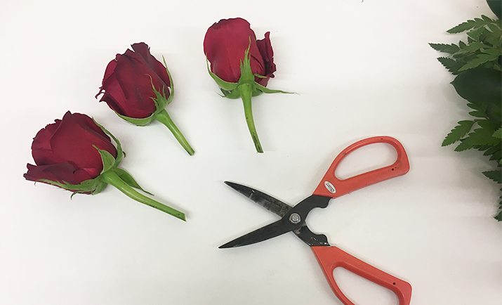 "Now you have completed the base, it's time to add the flowers. First add the focal flowers, in this example we are using Red Rose Freedom. Depending on the size of the floral wreath, you can use between seven to nine roses. Using a pair of scissors, cut the stems to the required length (approx. 2"")."