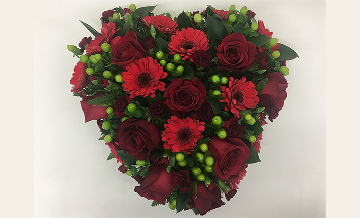 ... and here, we have the final result of our floral heart arrangement!
