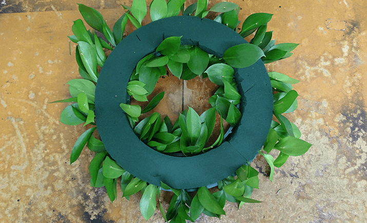 Create a base with the foliage of choice, starting at the base of the arrangement to disguise the plastic base. Here, we are using Hard Ruscus.