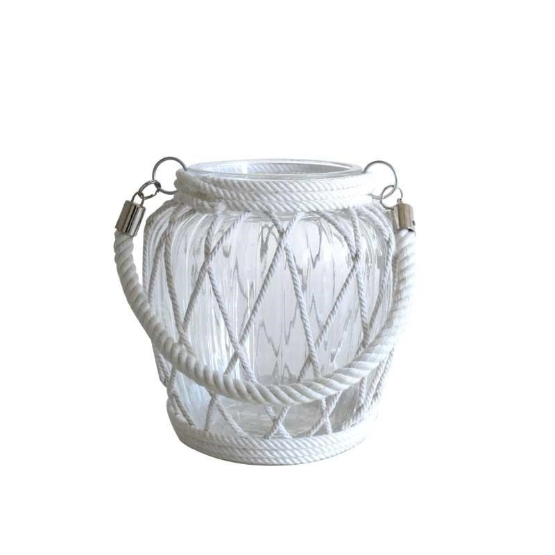Glass Candle Holder with Lattice Rope - 17cm