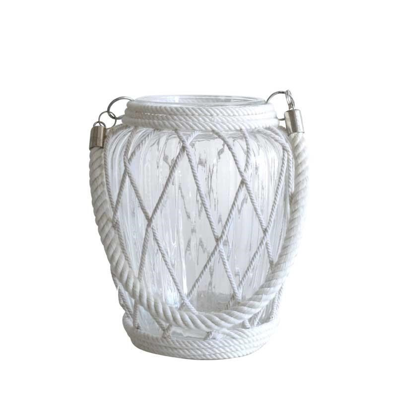 Glass Candle Holder with Lattice Rope - 20cm