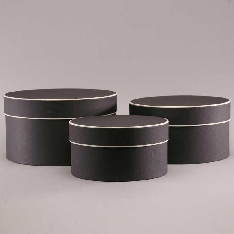 Hat Boxes Black Cream Round Sets Of 3 Wholesale Dutch Flowers Uk