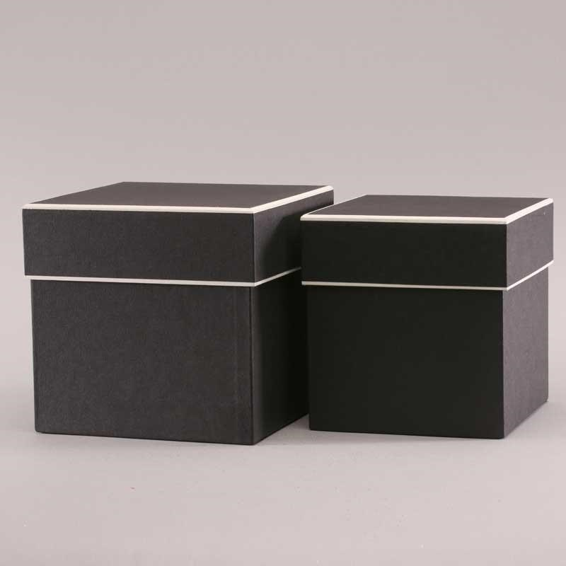 Hat Boxes Square - Black/Cream (set of 2)
