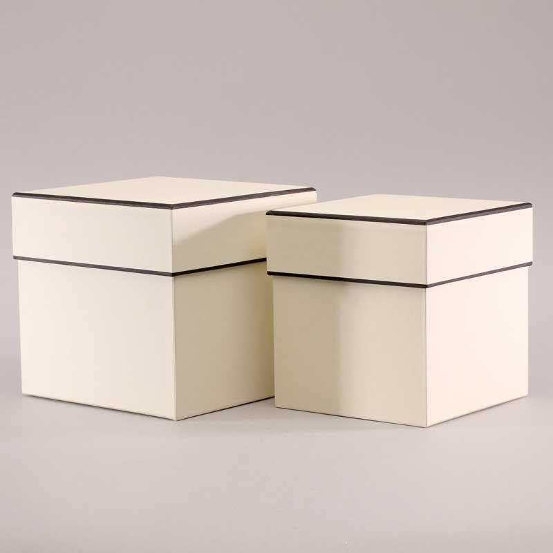 Hat Boxes Square - Cream/Black (set of 2)