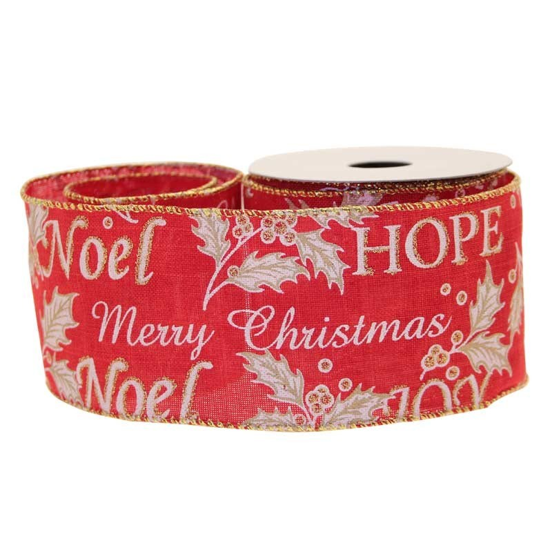 Ribbon Merry Xmas Red Cotton