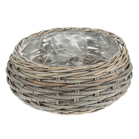 Rattan Basket - Large Round Grey