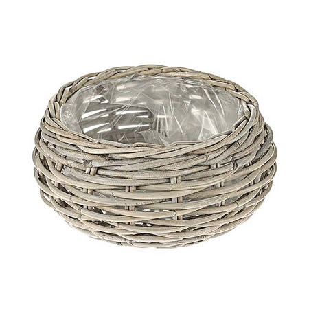 Rattan Basket - Small Round Grey