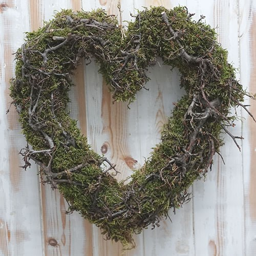 Love Heart Wreath - Bonsai & Moss 30cm