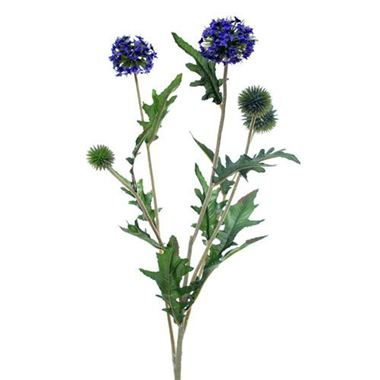 Artificial Echinops Thistle Spray - blue