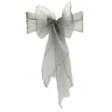 Chair Sash Organza - Silver