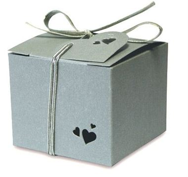 Favour Box - Square Pearl Silver