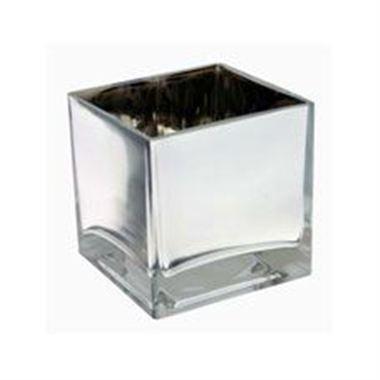 Square Silver Cube Vase 10cm Florist Supplies Triangle Nursery