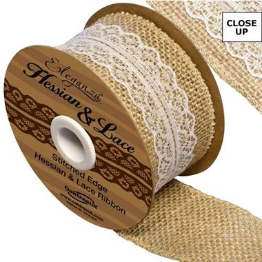 Ribbon - Hessian & White Lace 50mm (woven edge)
