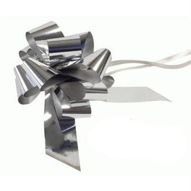 Ribbon Pull Bows Metallic Silver - 50mm