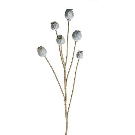 Artificial Poppy Head Sprays (Painted Grey)