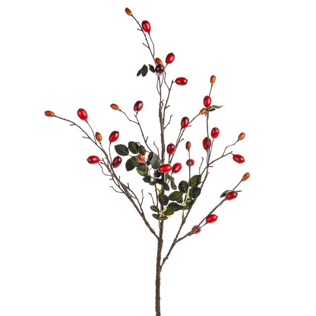 Artificial Rose Hip Branch