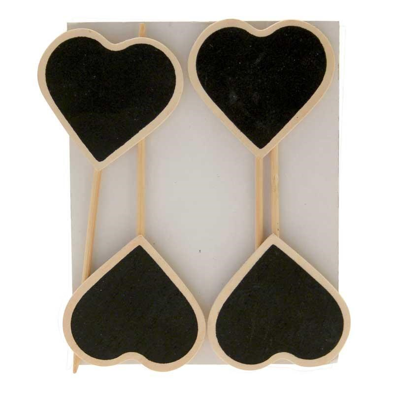 Blackboard Hearts on Sticks (4 Pack)