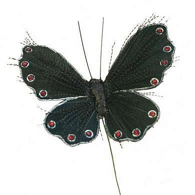Butterflies Black Glitter 3.75""