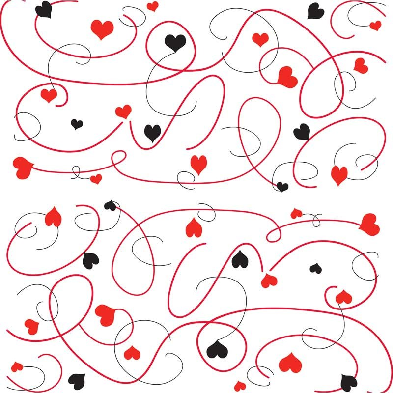 Cellophane Roll - Black/Red Hearts