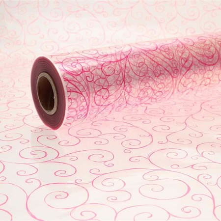 Cellophane Roll - Cerise Scroll