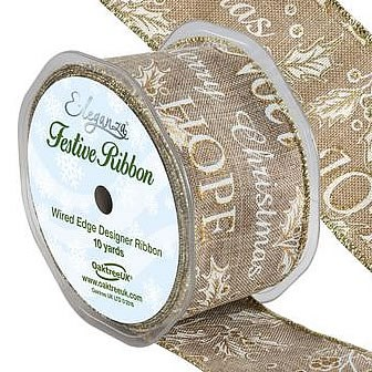 Christmas Ribbon - Natural Holly Design