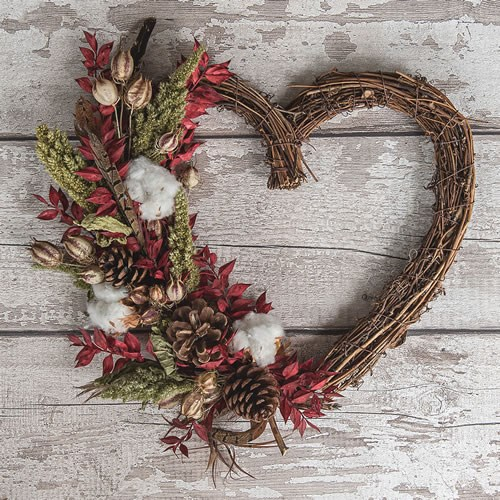 DIY Dried Flower Red Wicker Heart Kit (Makes 3)