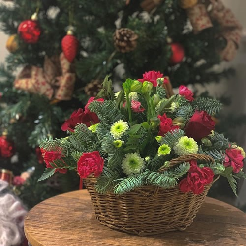 DIY Red & Green Posy Basket Kit