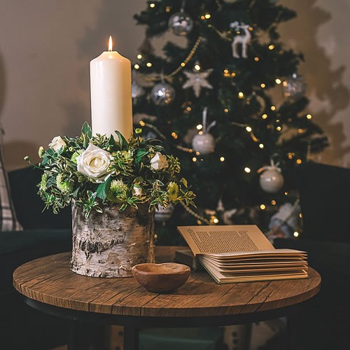 DIY White  & Green Candle Arrangement Kit (on Wood)