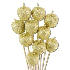 Gold Sparkling Apple Picks 4.5cm wide