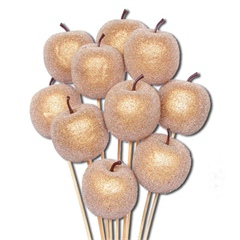 Gold Sugared Apple Picks 5cm wide