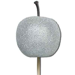 Silver Sugared Apple Picks 5cm wide
