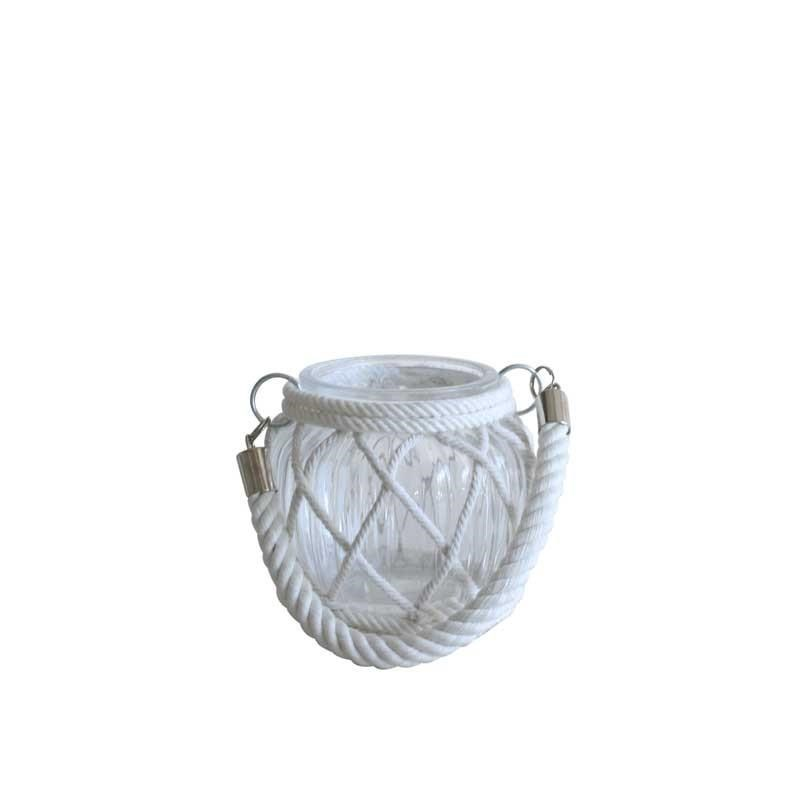 Glass Candle Holder with Lattice Rope - 11cm