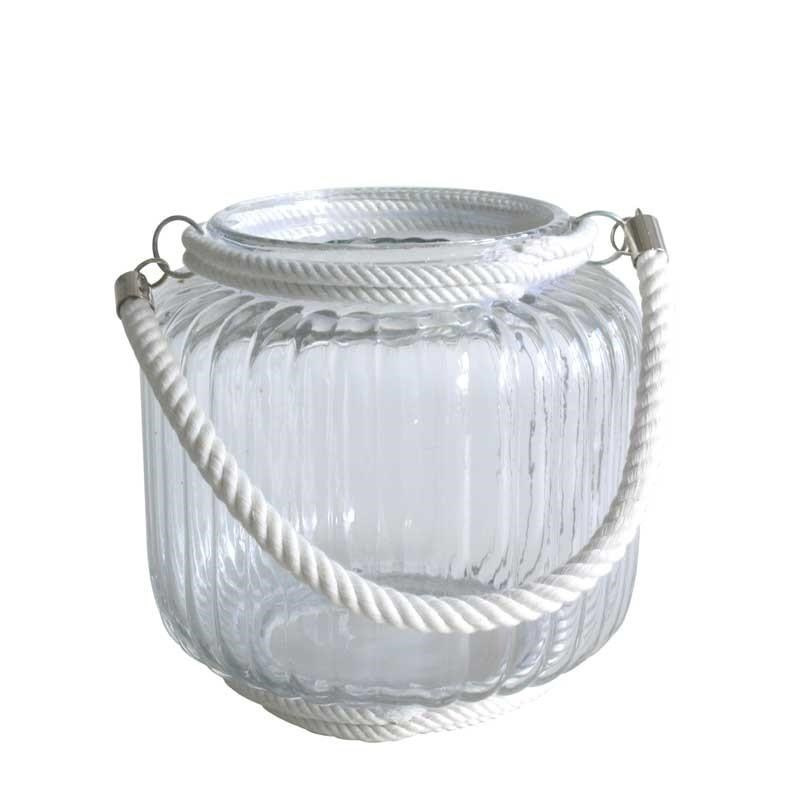 Glass Candle Holder with Rope - 19cm