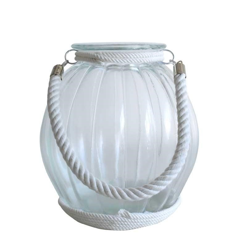 Glass Candle Holder with Rope - 27cm