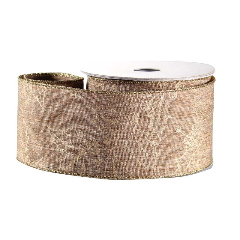 Gold Holly Natural Fabric Ribbon
