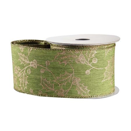 Green with Gold Holly Ribbon