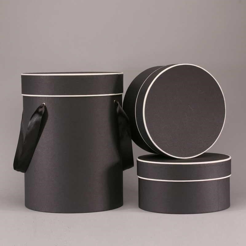 Hat Boxes Round - Black/Cream (set of 3)
