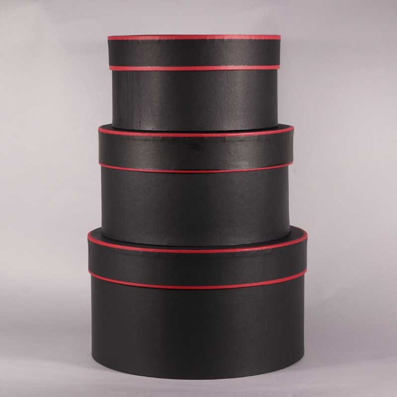 Hat Boxes Round - Black/Red Trim (set of 3)