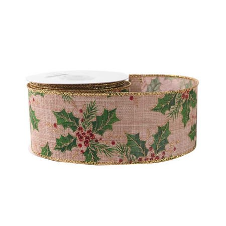 Holly on Natural Cotton Ribbon