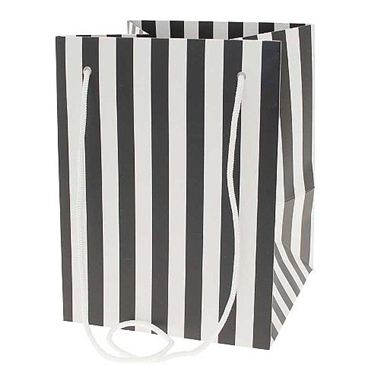 Hand Tied Gift Bag - Black Candy Stripe 19x25cm