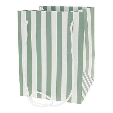Hand Tied Gift Bag - Sage Candy Stripe 19x25cm