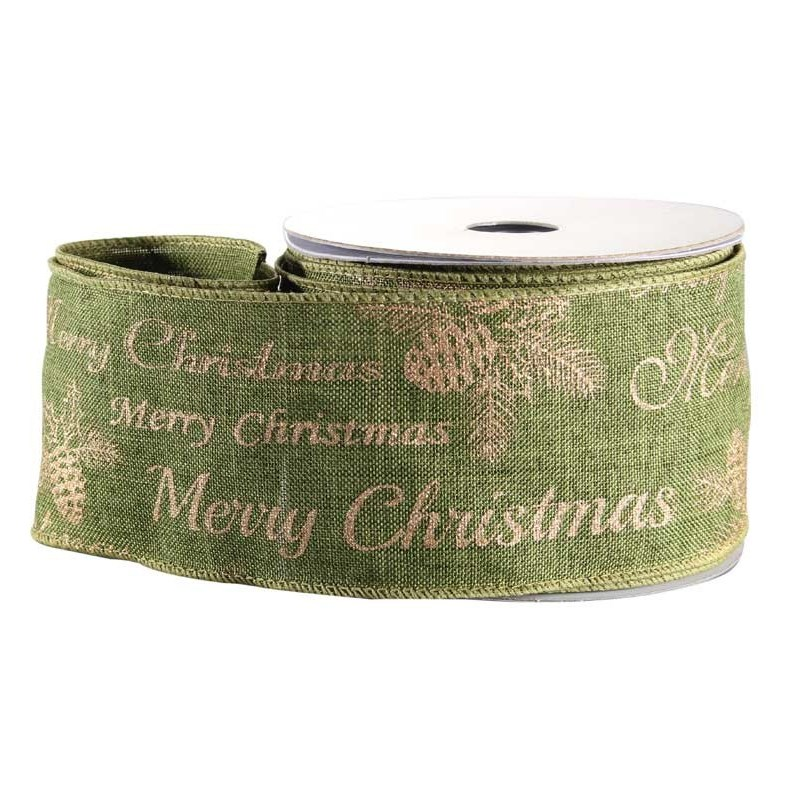 Merry Xmas Green Fabric Ribbon