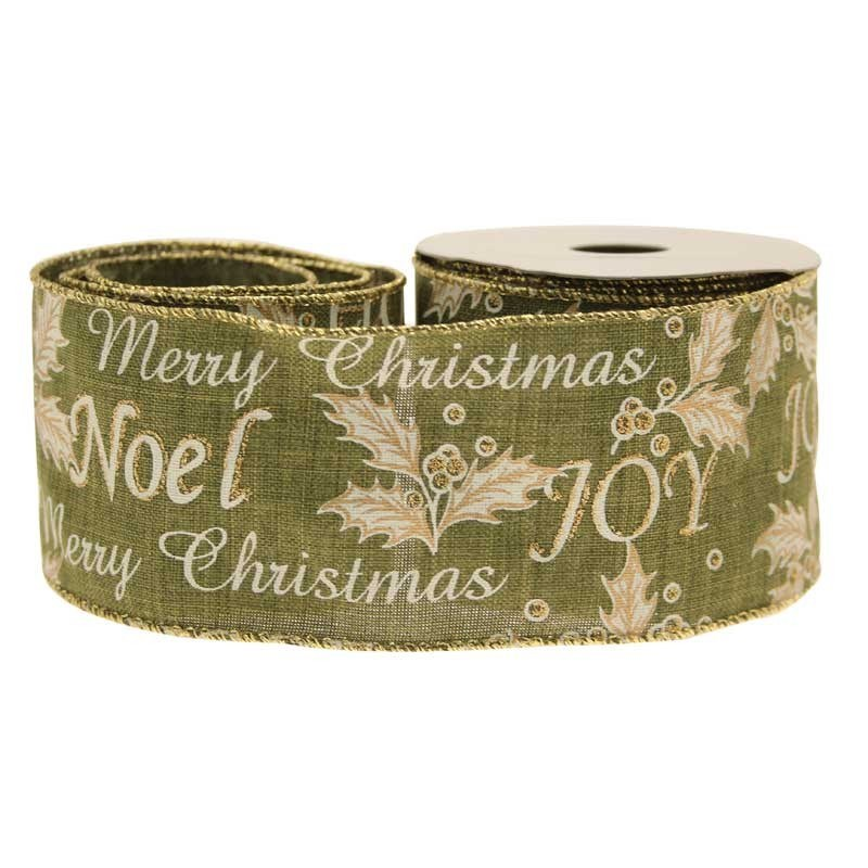 Merry Xmas Holly Green Cotton Ribbon