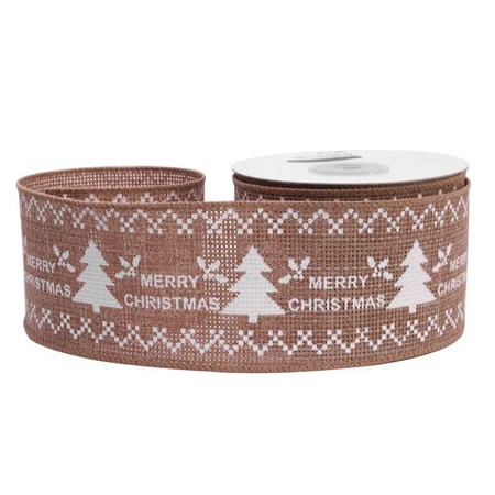 Merry Christmas Natural Ribbon