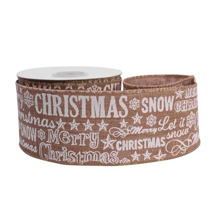 Merry Christmas Snow Natural Ribbon