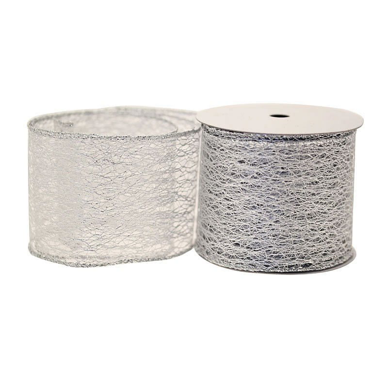 Metallic Silver Webbing Ribbon