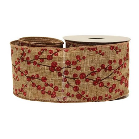 Red Berries on Natural Cotton Ribbon